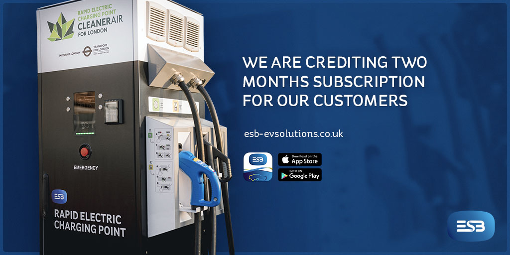 ESB Energy rapid charging point and notice of two month subscription credit